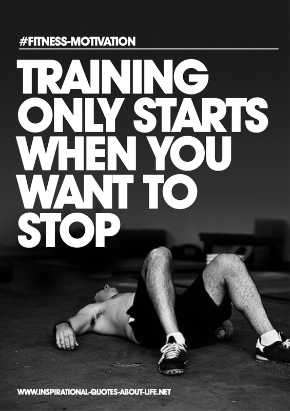 Training only starts when you want to stop Motivational quotes on health, fitness & exercise to inspire you to get healthy and fit! #quotes #health #fitness #exercise
