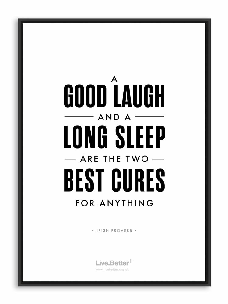 Motivational health quote, inspirational laugh sleep